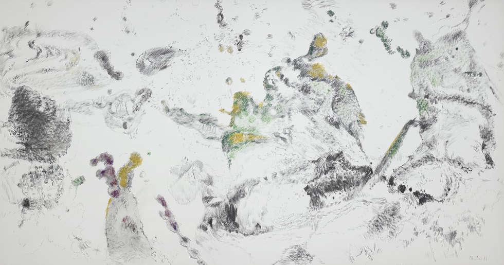 Max Weiler, Vielfältig und reich an Formen, 1980, Kohle, Wachskreiden auf Papier auf Leinwand kaschiert (Albertina, Wien)
