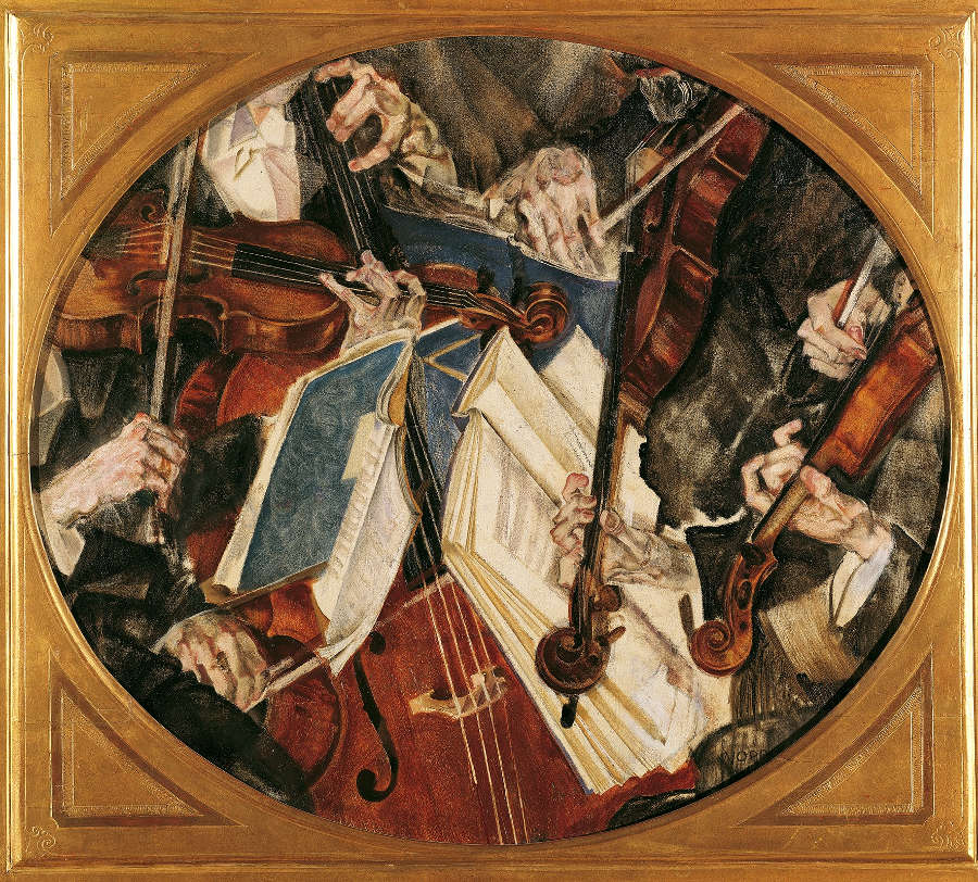 Maximilian Oppenheimer, Klingler-Quartett, 1917, Öl und Tempera auf Leinwand 70 x 80 cm (© Belvedere Wien)