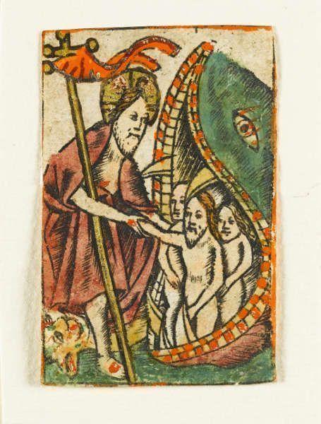 Deutsch, Die Verkündigung an Maria (aus einem Brevier), 2. Hälfte 15. Jahrhundert, Deckfarben und Gold auf Pergament, Zierschwünge mit Feder in Schwarz (Staatsgalerie Stuttgart, Graphische Sammlung)