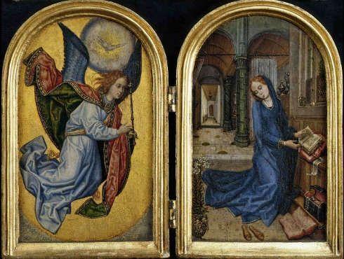 Meister von 1499 (nach Hugo van der Goes?), Die Verkündigung an Maria, Detail, um 1490-1510 (Staatliche Museen zu Berlin, Gemäldegalerie / Jörg P. Anders)