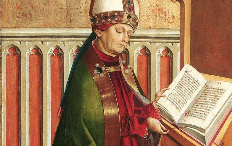 Meister von Großgmain, Hl. Ambrosius, Detail, um 1498, Fichtenholz, 67 x 39,5 cm (© Belvedere, Wien)