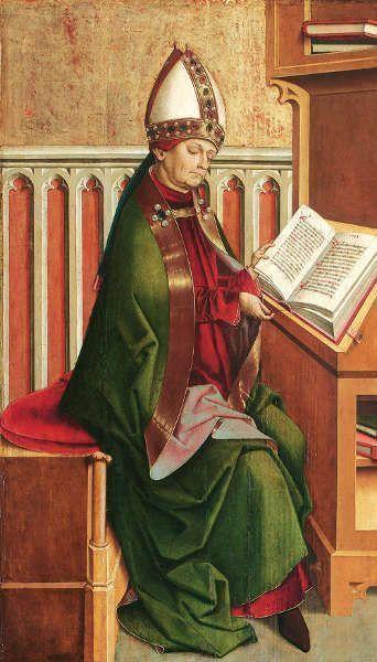 Meister von Großgmain, Hl. Ambrosius, um 1498, Fichtenholz, 67 x 39,5 cm (© Belvedere, Wien)