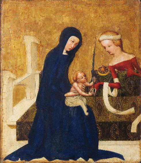 Meister von Heiligenkreuz, Mystische Vermählung der hl. Katharina, Wien, um 1415/20, Malerei und Polimentvergoldung auf Eichenholz, 21,5 × 18,5 cm (Wien, Belvedere, Inv.-Nr. 9239 © Wien, Belvedere)