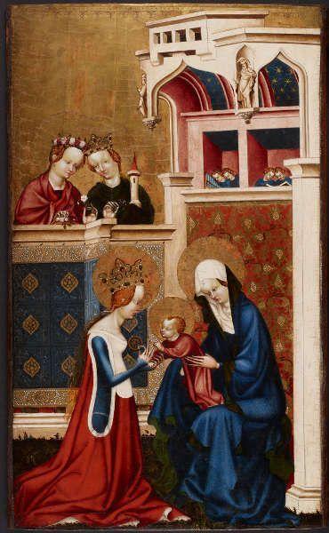Meister von Heiligenkreuz, Mystische Vermählung der hl. Katharina, um 1415/20, Malerei und Polimentvergoldung auf Eichenholz, 71,8 × 43,8 cm (Wien, Kunsthistorisches Museum, © KHM-Museumsverband)