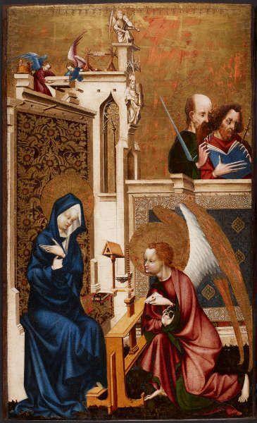 Meister von Heiligenkreuz, Verkündigung, Diptychon, um 1415/20, Eichenholz, Goldgrund, 72 × 43,5 cm (© KHM-Museumsverband)