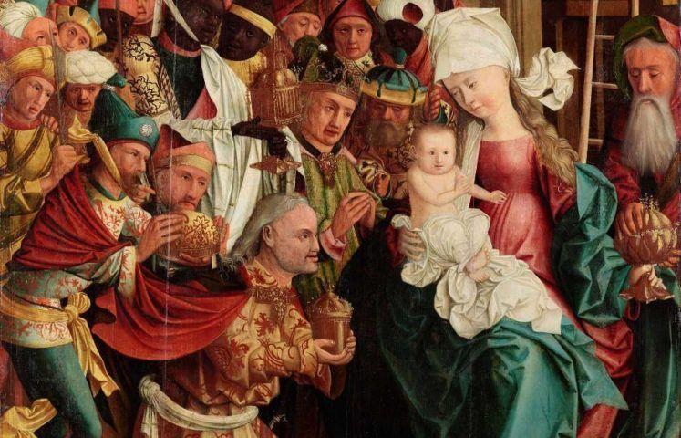 Meister von Mondsee, Anbetung der Heiligen Drei Könige, Detail, von den Schreinflügeln des sog. Mondseer Altars, vor 1499 (Linz, Oberösterreichisches Landesmuseum)
