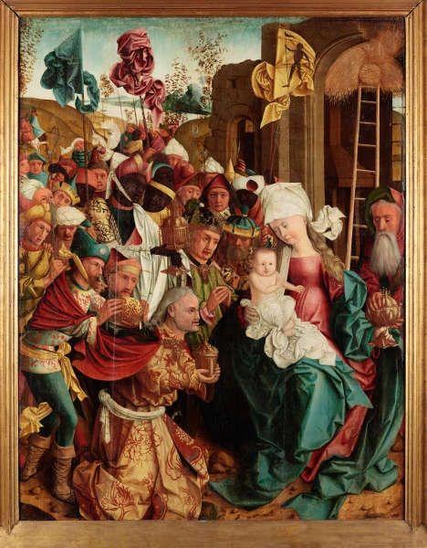 Meister von Mondsee, Anbetung der Heiligen Drei Könige, von den Schreinflügeln des sog. Mondseer Altars, vor 1499 (Linz, Oberösterreichisches Landesmuseum)