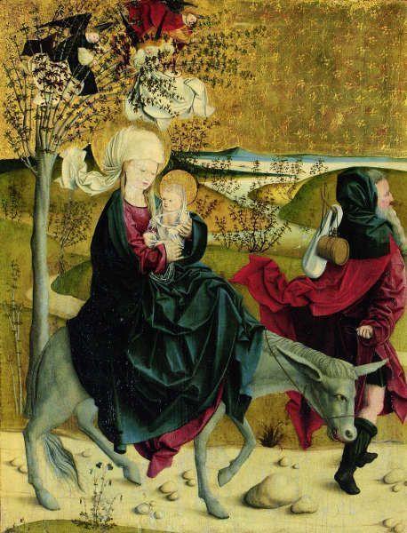 Meister von Mondsee, Flucht nach Ägypten, von der Predella des sog. Mondseer Altars, vor 1499 (Wien, Belvedere)