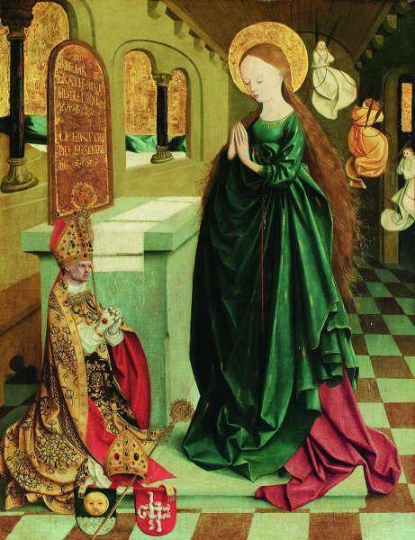 Meister von Mondsee, Maria als Tempeljungfrau im Ährenkleid; von der Predella des sog. Mondseer Altars, vor 1499 (Wien, Belvedere)
