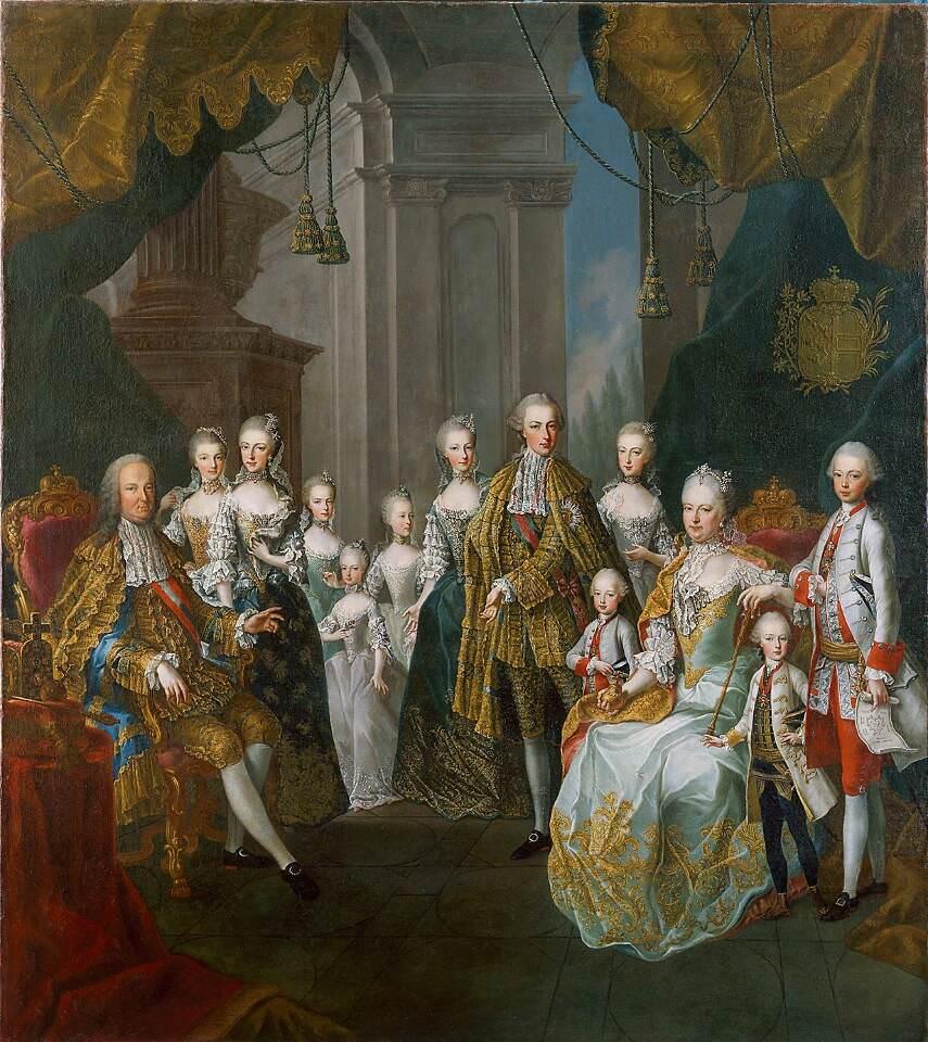 Martin van Meytens d.J. und Schule, Maria Theresia, Franz Stephan und elf ihrer sechzehn Kinder, um 1764, Öl auf Leinwand, 226 x 205 cm (Wien, Kunsthistorisches Museum, Gemäldegalerie, Inv.-Nr. GG 3149)