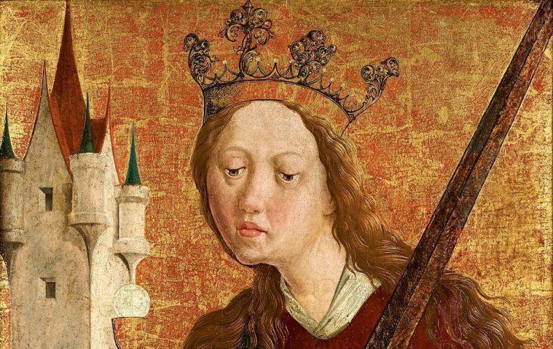 Michael Pacher-Werkstatt, Hl. Barbara, Detail, um 1480/1490, Zirbenholz, 54,5 x 41 cm (Belvedere, Wien, Inv.-Nr. 4848)