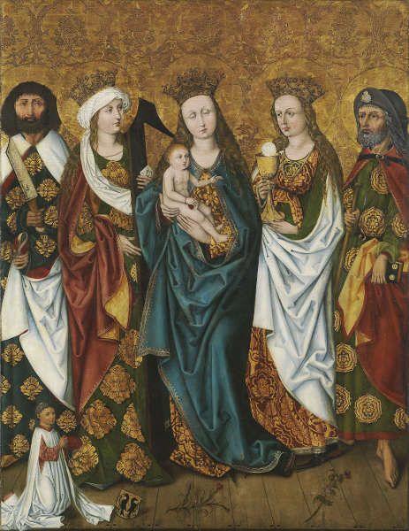 Michael Wolgemut-Werkstatt, Epitaph des Magisters Jodokus Krell: Maria mit dem Kind und Heiligen, 1483, Malerei auf Tannenholz, 159,8 x 123 cm (Germanisches Nationalmuseum, Nürnberg)