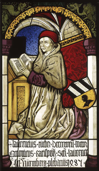 Michael Wolgemut-Werkstatt, Stifterscheibe des Propst Lorenz Tucher, 1485, farbiges Hüttenglas mit Schwarzlotmalerei, 80 x 47,5 cm (Germanisches Nationalmuseum, Nürnberg)