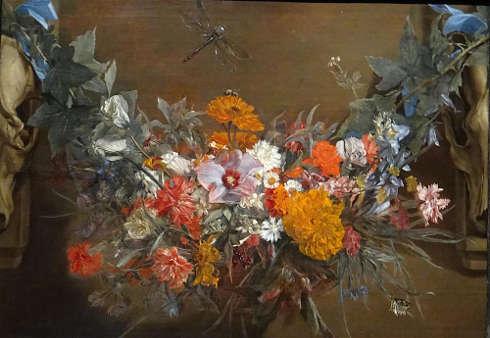 Michaelina Woutier, Blumengirlande mit Prachtlibelle, 1652 (Privatsammlung)