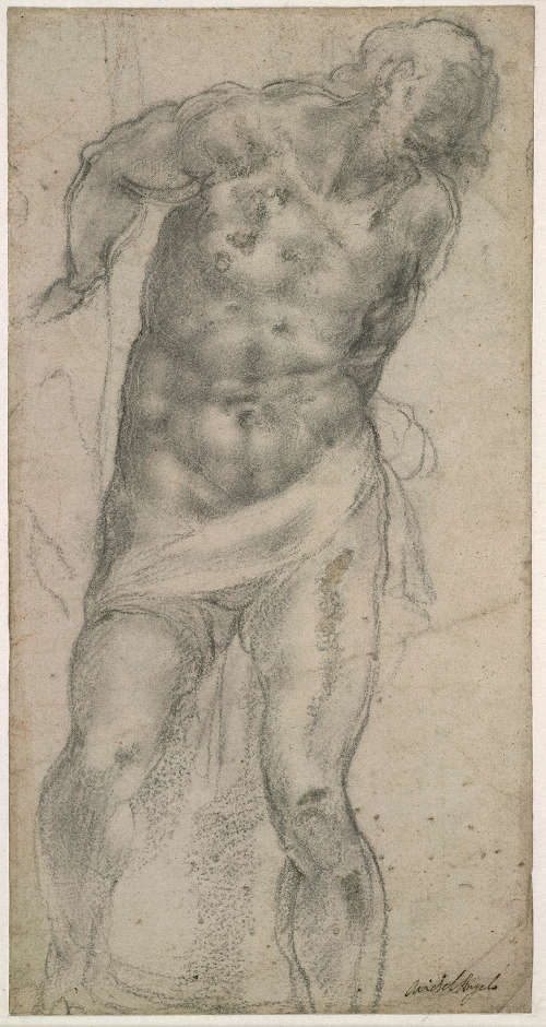 Michelangelo, Christus an der Säule, 1516, schwarze Kreide und weiße Gouache über Stylus auf Papier, 27.4 × 14.3 cm (The British Museum, London (1895,0915.813) © The Trustees of The British Museum)