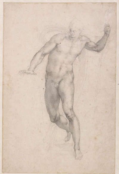 Michelangelo, Die Auferstehung Christi, um 1532/33, schwarze Kreide auf Papier, 40.5 × 26.9 cm (The British Museum, London (1887,0502.119) © The Trustees of The British Museum)