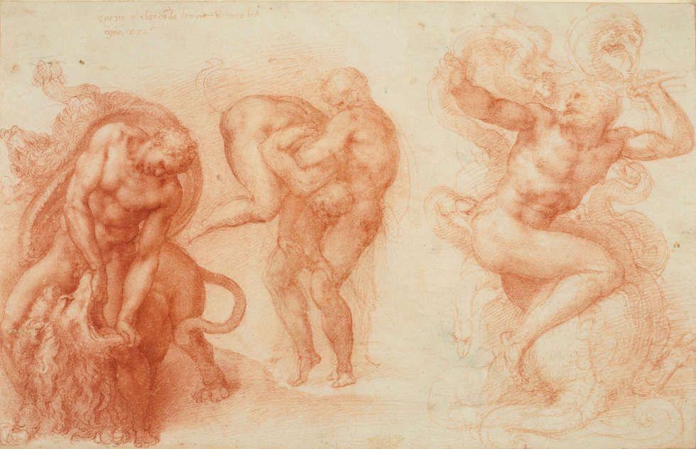 Michelangelo, Drei Arbeiten des Herkules, 1530–1533, Rote Kreide, Blatt 27.2 x 42.2 cm (Lent by Her Majesty Queen Elizabeth II (RCIN 912770) SL.6.2017.48.5)