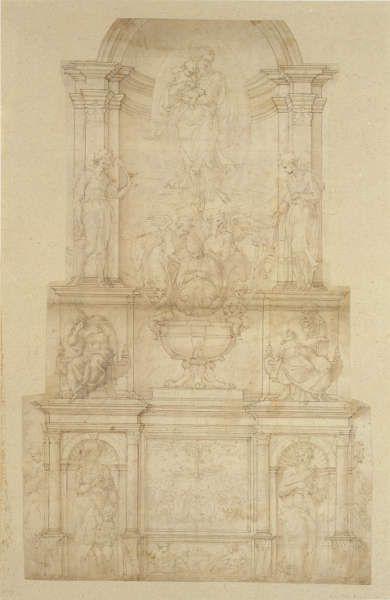 Michelangelo, Entwurf für das Grabmal von Julius II della Rovere, 1505/06, Feder und braune Tinte, Pinsel und braune Lavierung, über Stylus Linien und Bleistift, 51 x 31.9 cm (Metropolitan Museum of Art, New York, Rogers Fund, 1962 62.93.1)