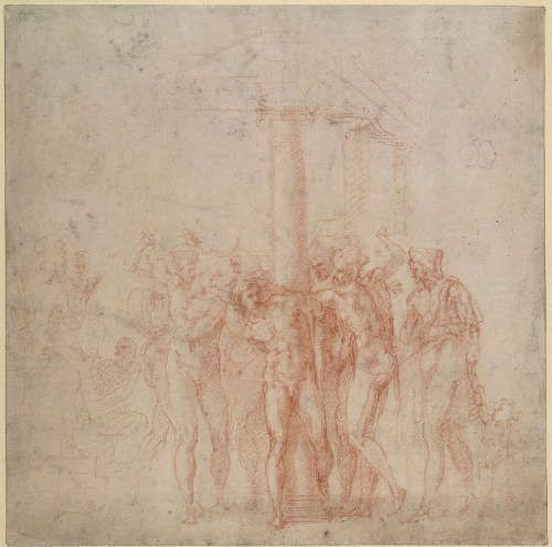 Michelangelo, Geißelung Christi, 1516, rote Kreide über Stylus mit schwarzer Kreide auf Papier, 23.3 × 23.5 cm (The British Museum, London (1895,0915.500) © The Trustees of The British Museum)