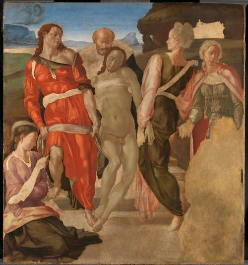 Michelangelo, Grablegung (oder Christus wurd zum Grab getragen), um 1500–1501, Oil auf Pappel, 161.7 x 149.9 cm (The National Gallery, London, NG790)