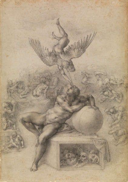 Michelangelo, Il Sogno (Der Traum), 1530er, Schwarze Kreide, Blatt 38.9 × 27.8 cm (London, Courtauld Gallery, Prince Gate Bequest (1978) inv. D 1978.PG.424 SL.6.2017.20.2)