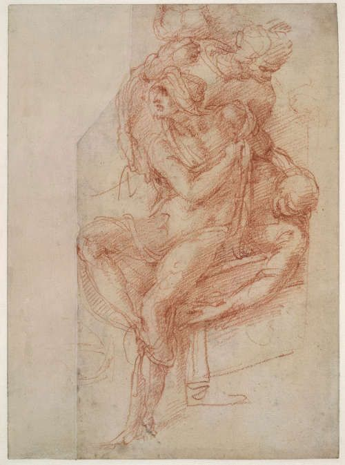 Michelangelo, Lazarus mit seinem rechten Arm über ihrer Brust, Oberkörper des Lazarus (verkehrt), vielleicht 1518, rote Kreide auf Papier, 25 × 18.3 cm (The British Museum, London (1860,0714.1) © The Trustees of The British Museum)