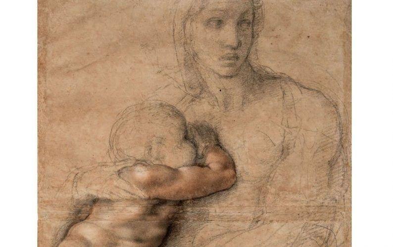 Michelangelo, Unvollendeter Karton für eine Madonna mit Kind, Detail, 1525–1530, Schwarze und rote Kreide, weiße Gouache, Blatt 54.1 x 39.6 cm (Casa Buonarroti, Florenz 71F SL.6.2017.12.7)