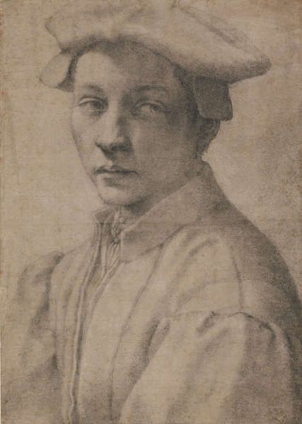 Michelangelo, Porträt von Andrea Quaratesi, 1532, Schwarze Kreide, Blatt 41.1 x 29.2 cm (The British Museum, London 1895,0915.519 (Wilde 59) SL.6.2017.19)