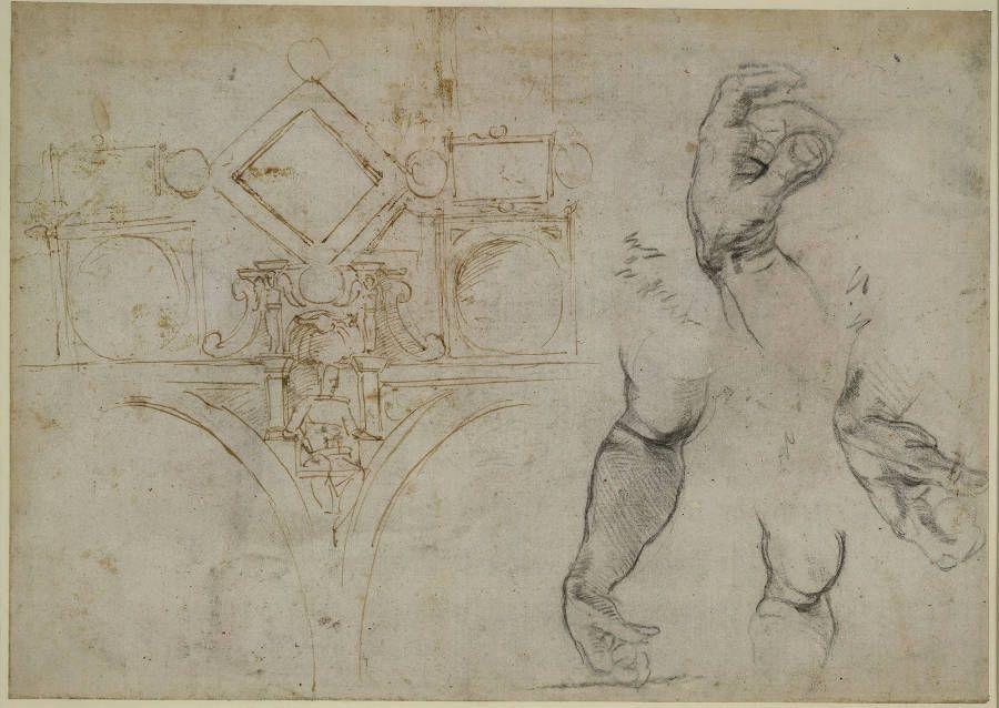 Michelangelo, Schema für die Dekoration des Gewölbes der Sixtina, Studien von Armen und Händen (recto), 1508 (British Museum)
