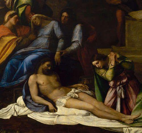 Sebastiano del Piombo, Beweinung Christi, Detail, 1516, Öl auf Leinwand, Transfer von Holz, 260 × 193 cm (Eremitage, St Petersburg)