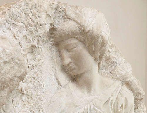 Michelangelo, Madonna mit Kind und dem hl. Johannes (Tondo Taddei), Kopf der Madonna schräg, um 1504-1505, Marmor, 106.8 cm dm (Royal Academy of Arts)