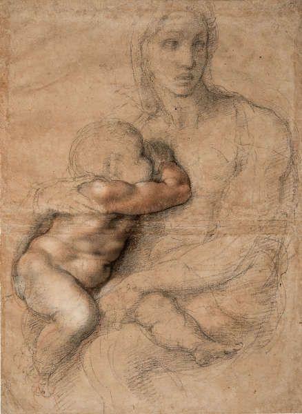 Michelangelo, Unvollendeter Karton für eine Madonna mit Kind, 1525–1530, Schwarze und rote Kreide, weiße Gouache, Blatt 54.1 x 39.6 cm (Casa Buonarroti, Florenz 71F SL.6.2017.12.7)