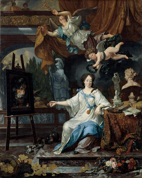 Michiel van Musscher, Porträtallegorie von Maria van Oosterwijck im Atelier, um 1675–1685, 114.3 x 91.1 cm (North Carolina Museum of Art, Raleigh, Gift of Armand and Victor Hammer, Inv.-Nr. G.57.10.1)