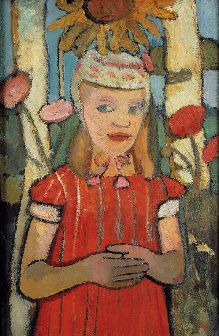 Paula Modersohn-Becker, Mädchen in rotem Kleid vor Sonnenblume, 1907 (Privatbesitz)
