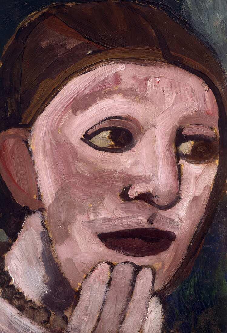 Paula Modersohn-Becker, Selbstbildnis nach halbrechts, die Hand am Kinn, 1906 (Privatbesitz)