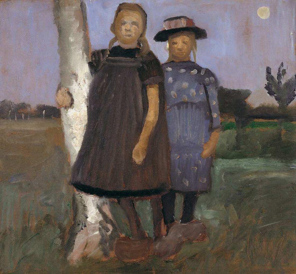 Paula Modersohn-Becker, Zwei Mädchen an einem Birkenstamm stehend, um 1902 (Museen Böttcherstraße, Paula Modersohn-Becker Museum, Bremen, Dauerleihgabe aus Privatbesitz)
