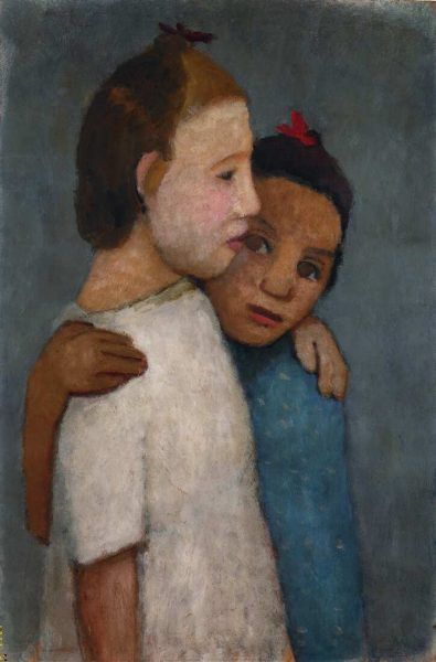 Paula Modersohn-Becker, Zwei Mädchen in weißem und blauem Kleid, sich an der Schulter umfassend, 1906 (Privatbesitz)