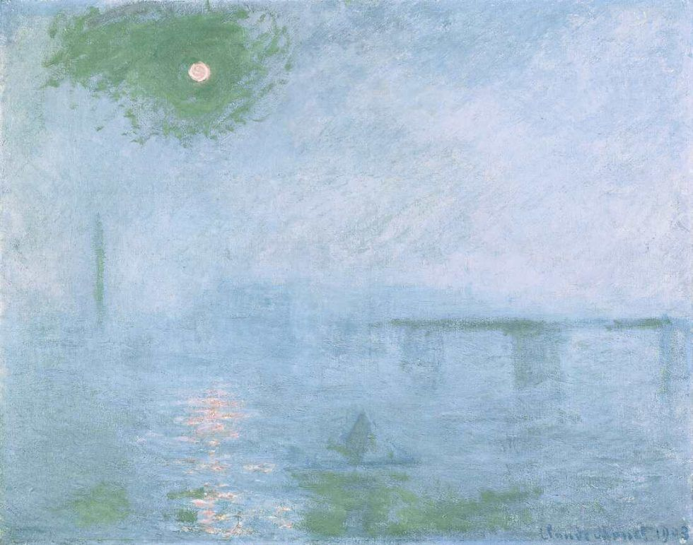 Claude Monet, Charing Cross Bridge, brouillard sur la Tamise [Charing Cross Bridge, Nebel über der Themse], 1903, Öl auf Leinwand, 73,7 x 92,4 cm (Harvard Art Museums/Fogg Museum, Schenkung Mrs. Henry Lyman, 1979, Foto: Imaging Department © President and Fellows of Harvard College)