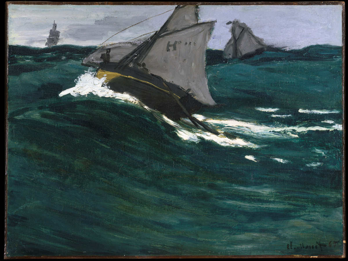 Claude Monet, Marine [Die grüne Welle], 1865, Öl auf Leinwand, 48.6 x 64.8 cm (The Metropolitan Museum of Art, New York, H. O. Havemeyer Collection, Bequest of Mrs. H. O. Havemeyer, 1929)