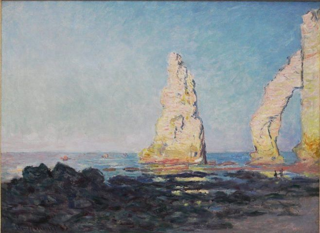 Claude Monet, Aiguille d'Étretat, marée basse [Felsnadel von Étretat bei Ebbe], 1883, Öl auf Leinwand, 60 x 81 cm (Privatsammlung, Foto: Alexandra Matzner, ARTinWORDS)