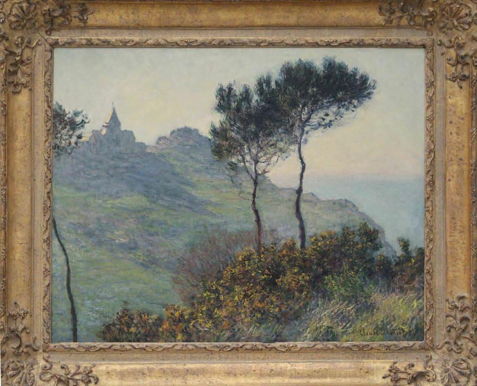 Claude Monet, Église de Varengeville, soleil [Die Kirche von Varengeville bei Sonnenuntergang], 1882, Öl auf Leinwand, 65 x 81 cm (Privatsammlung, Foto: Alexandra Matzner, ARTinWORDS)