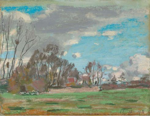 Claude Monet, Landschaft bei Le Havre, 1868–1878, Pastell, 24,1 x 31,1 cm (Richard Green Gallery, London)