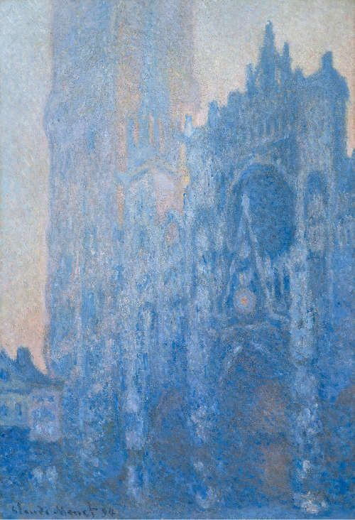 Claude Monet, Le Portail et la tour d'Albane à l'aube, 1893-4, ÖL/Lw, 106 × 74 cm (© Museum of Fine Arts, Boston, Tompkins Collection - Arthur Gordon Tompkins Fund (24.6)