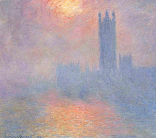 Claude Monet, Londre, le Parlement. Trouée de soleil dans le brouillard [London, das Parlament, Sonnenloch im Nebel], 1904, Öl/Lw, 81,5 x 92,5 cm (Musée d'Orsay, Paris)