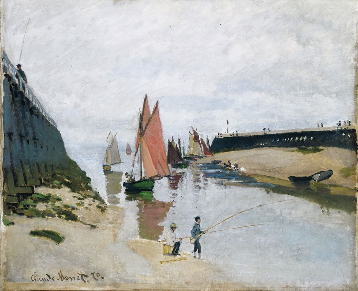 Claude Monet, Estacade de Trouville, marée basse [Mole in Trouville, Ebbe], 1870, Öl auf Leinwand, 54 x 65,7 cm (Szépmüvészeti Múzeum, Budapest, 4970)