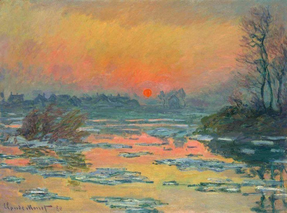 Claude Monet, Coucher de soleil sur la Seine, l'hiver [Sonnenuntergang über der Seine im Winter], 1880, Öl auf Leinwand, 60,6 x 81,1 cm (Pola Museum of Art, Pola Art Foundation)