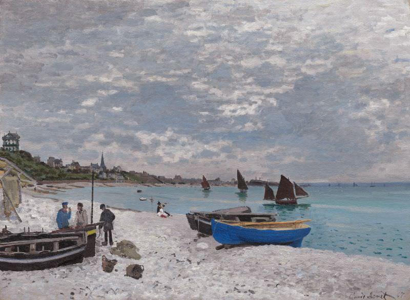 Claude Monet, La plage à Sainte-Adresse [Der Strand in Sainte-Adresse], 1867, öl auf Leinwand, 75.8 x 102.5 cm (aus dem Besitz von Faure, heute: The Art Institute of Chicago, Mr. and Mrs. Lewis Larned Coburn Memorial Collection, 1933.439)