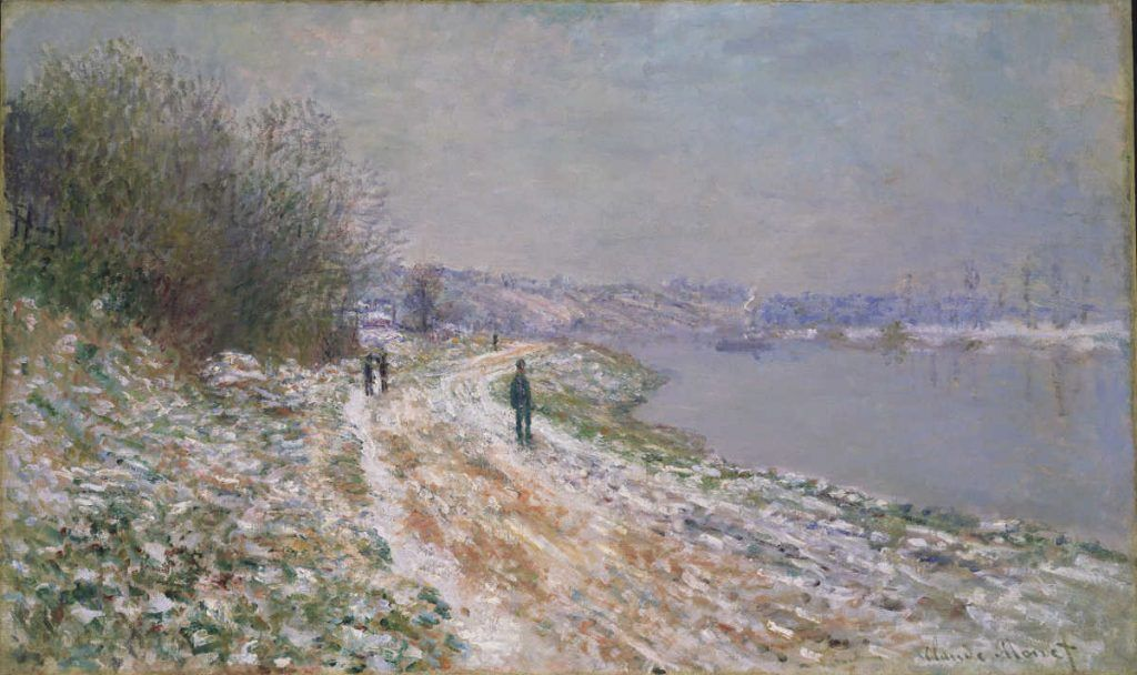 Claude Monet, Chemin de halage à Argenteuil [Weg in Argenteuil, Winter], 1875/76, Öl auf Leinwand, 60 x 100 cm (Collection Albright-Knox Art Gallery, Buffalo, New York, Gift of Charles Clifton, 1919)