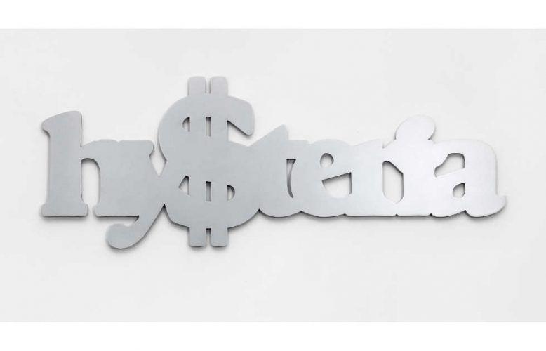 Monica Bonvicini, Hy$teria, 2019, Aluminium, gewachst 73,5 x 200 x 2 cm, Foto: Roman März, © Monica Bonvicini und Bildrecht Wien