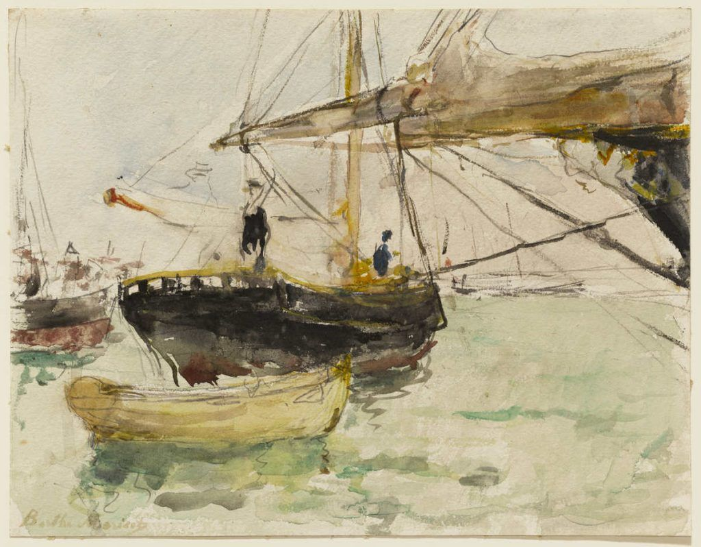 Berthe Morisot, Avant d'un Yacht [Vor einer Jacht], 1875, Aquarell über Graphit auf Papier, 20.7 x 26.8 cm (Sterling and Francine Clark Art Institute, Williamstown)
